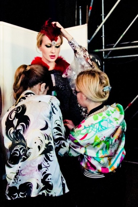 Marina putting the final touches during her Fall/Winter 2013-14 presentation