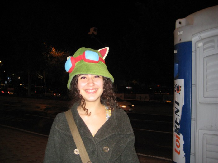 In Istanbul, Turkey keeping warm this winter with a fun hat!