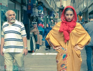Shabnam poses on location in the markets of Tehran