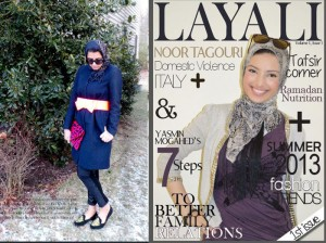 Layali webzine's latest fashion story (left) and the cover of their very first issue (right)