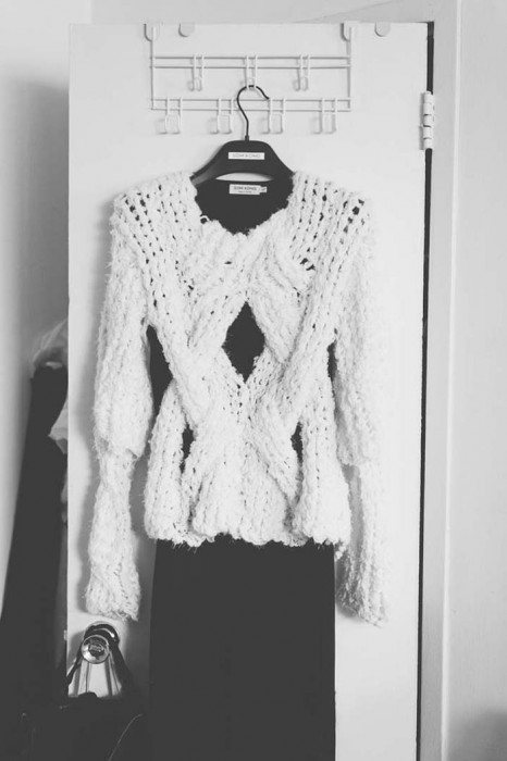 Finge knitting sweater presented as part of Ryerson University's Mass Exodus Fashion Show
